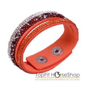 armband suede glitter oranje
