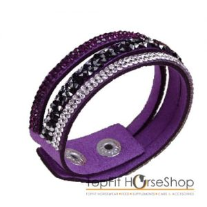 armband suede glitter paars