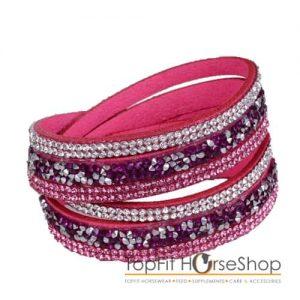 wikkelarmband suede roze