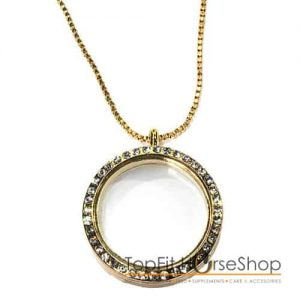 memory locket gold strass
