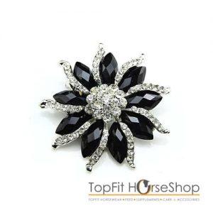 Plastronspeld bloem zwart