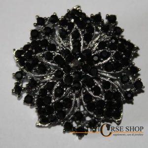 plastronspeld zwart bloem 1