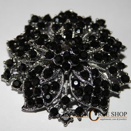 plastronspeld zwart bloem